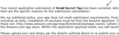 Amazon Appstore Rejection