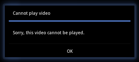 Xoom Cannot Play Video